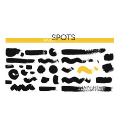 black paint spots - set isolated design vector image