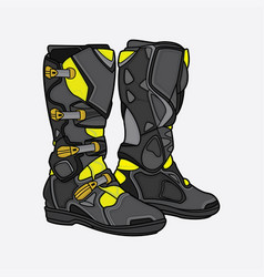 boots motocross black and yellow vector image