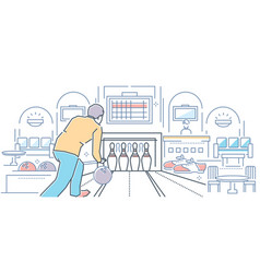 bowling - modern line design style colorful vector image
