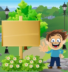 Boy in Park with Sign 2 vector