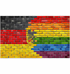 Brick wall germany and gay flags vector