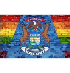 brick wall michigan and gay flags vector image