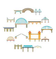 bridge construction icons set cartoon style vector image