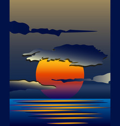 bright yellow sunrise and sunset set vector image