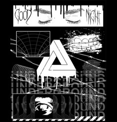 Brutalism collection images for prints on clothes vector