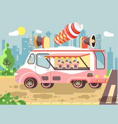 cartoon car with refrigeration vector image