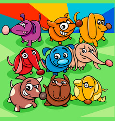 cartoon colorful dog characters group vector image