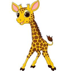 Cartoon funny giraffe mascot isolated vector