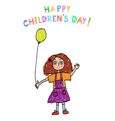 Children day kids drawing vector