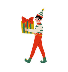 christmas elf character carrying gift box cute vector image