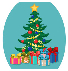 christmas tree stands with gift boxes for the vector image