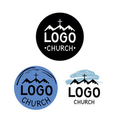 Church logo with cross and mountains vector
