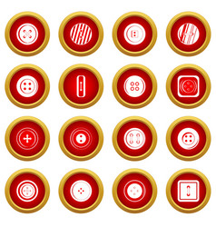 Clothes button icon red circle set vector
