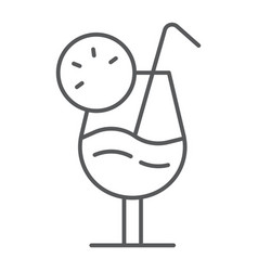 cocktail thin line icon alcohol and beverage vector image