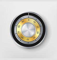 Combination lock realistic metal vector