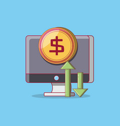 computer and financial design vector image
