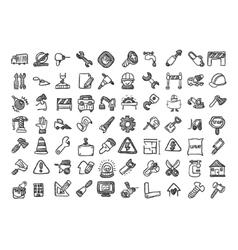 Construction cartoon icon set vector image