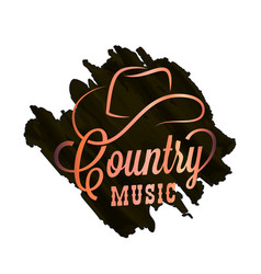 Country music watercolor logo cowboy hat country vector
