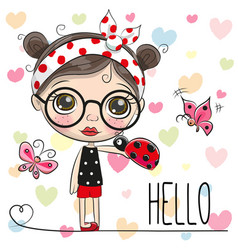 Cute cartoon girl with a ladybug vector