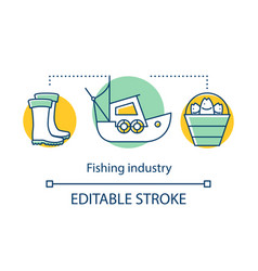 Fishing industry concept icon fishery sector vector