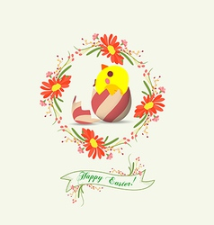 Flowers and label easter egg vector