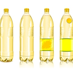 Four yellow plastic bottles with labels vector