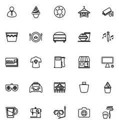 Franchisee business line icons on white background vector image