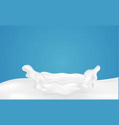 fresh milk splash on blue background drink and vector image