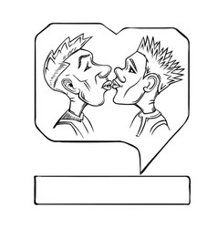 gay couple kiss sketch vector image