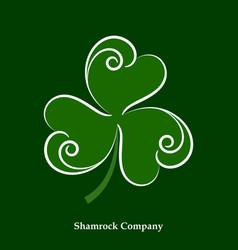 green leaf shamrock icon happy patrick day vector image