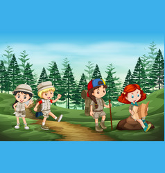 group of camping kids in nature vector image