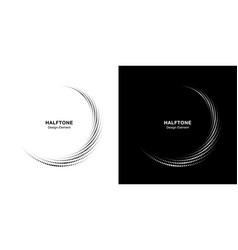 halftone circle dotted frame logo design element vector image