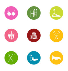 Handicapped people icons set flat style vector