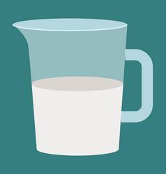 Healthy and organic liquid dairy milk in beaker vector