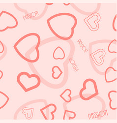 heart symbol passion text seamless pattern vector image