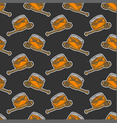 Honey in pot with wooden spoon concept in doodle vector