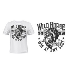 horse mustang mascot t-shirt print stallion vector image