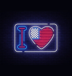 i love the usa slogan neon sign night bright vector image