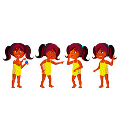 Indian girl kindergarten kid poses set vector