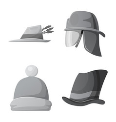 isolated object of headgear and cap sign set of vector image