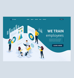 isometric landing page for business solutions vector image