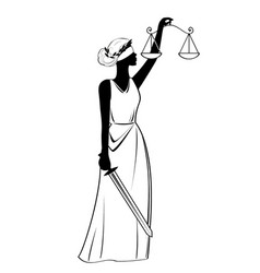 Justice statue icon black sign on isolated vector
