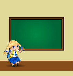 Kawaii schoolgirl with braids standing near vector