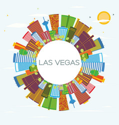 las vegas city skyline with color buildings blue vector image