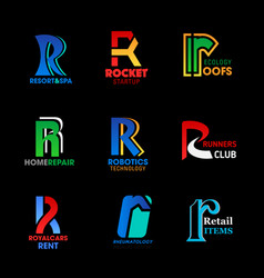 Letter r identity abstract business icons vector