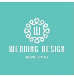 letter w flat design wedding sign in form vector image
