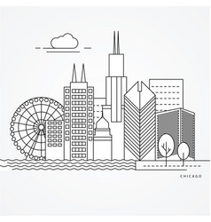 linear of chicago us vector image