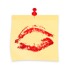 Lipstick kiss on yellow sticky note attached with vector