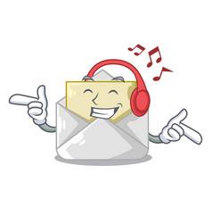listening music open envelope on cartoon shape vector image