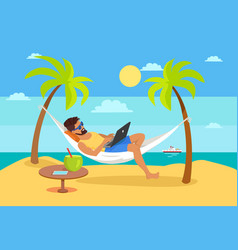 man lying on hammock notebook tropical cocktail vector image